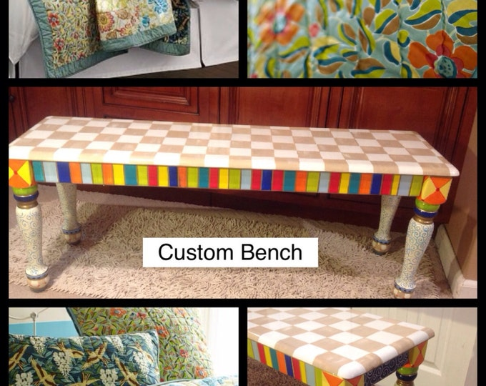 Whimsical Painted Furniture, Painted Bench // Painted Farmhouse Bench // Custom Furniture