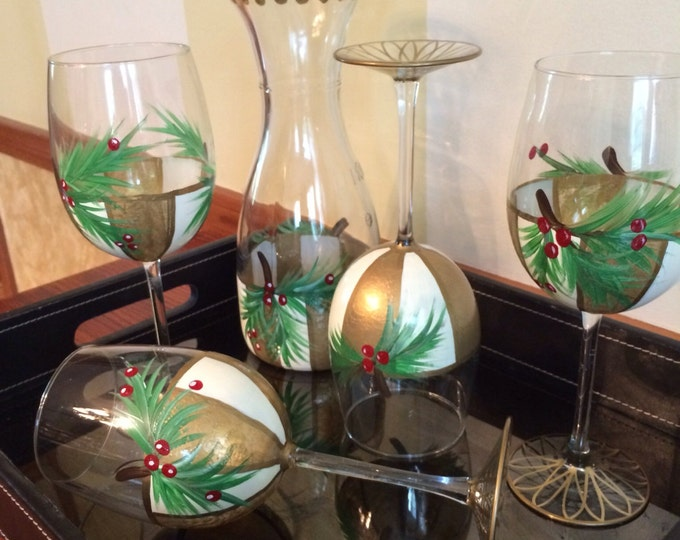 Painted Wine Glasses // Holiday Wine Glasses // Pine Berry Wine Glasses