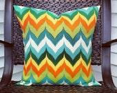 NEW Multi-Colored Chevron Indoor/Outdoor Pillow Cover - Patio Decor - Sunroom