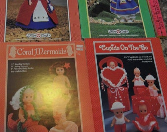 4 Vintage Leaflets to Crochet Jill - Cupids - Betsy Ross and Mermaids
