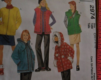 McCalls #2974 Unused Pattern for Girls' Unlined Jacket or Vest, PUll-on skirt and pants