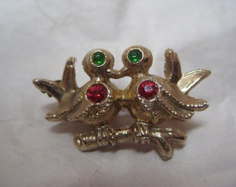 Bird Love Brooch Red Green Gold Rhinestone Vintage Pin