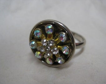 Flower Aurora Silver Gold Ring Adjustable Rhinestone Vintage