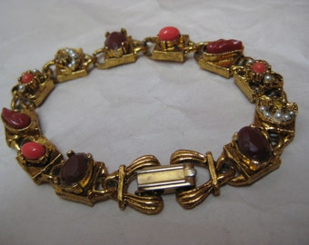Orange Pearl Gold Terra Cotta Bracelet Vintage