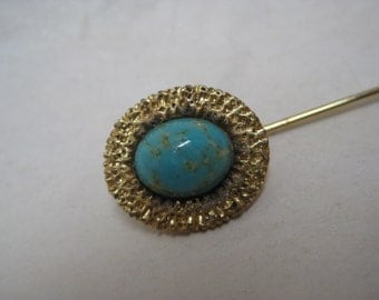 Turquoise Gold Stick Pin Cab Vintage Blue