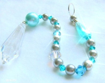 AQUA TEAR Crystal  Rearview Mirror Jewel, Ornament, Sun catcher, Feng Shui crystal