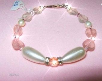 HEARTS DESIRE Bracelet Pink bracelet.  Free Shipping