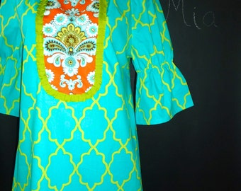 Boatneck DRESS or TOP - Shirred 3/4 length sleeves - Moroccan Lattice - Made in any Size - Boutique Mia by CXV