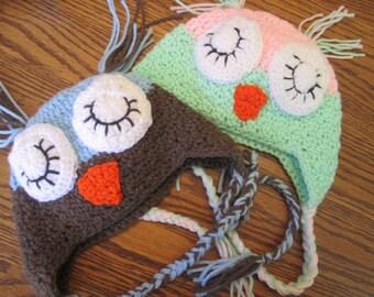 Sleeping Owl Earflap Beanie - You choose colors