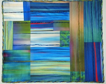Abstract Color Study Fiber Art Quilted Wall Hanging