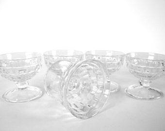 Vintage 1970's Clear, Footed Sherbert Cups, Ice Cube Pattern, Set of 5
