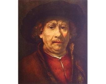 Self Portrait 1658 by Rembrandt - a Frameable Vintage 1953 Art Print