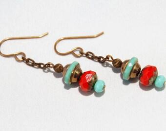 Funky red aqua Czech glass natural brass earrings by CURRICULUM