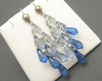 Long Vintage Earrings Chandelier Lucite Blue Jewelry E5880