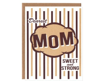 Dearest Mom -- Sparkly Screenprinted Mother's Day Card