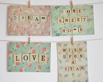 Postcard Set, Inspirational Art, Still Life Photo, Flowers, Floral, Retro, Romantic, Affordable Art - Words