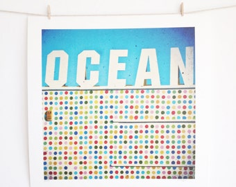CLEARANCE SALE Typography Print, Retro Wall Art, Ocean, Summer Decor, Turquoise Blue and White Art - Ocean