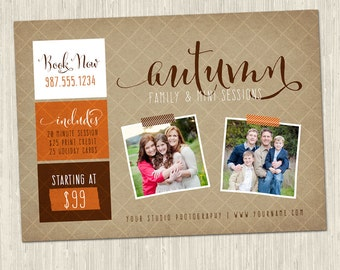 Kraft Fall / Autumn Family and Mini Sessions Photography Marketing Card Template | 5x7 | 1 PSD Photoshop File | MM8009