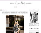 Premade Blogger Template - LOVE NOTES - Mobile Responsive - Graphic Design - Blog Template