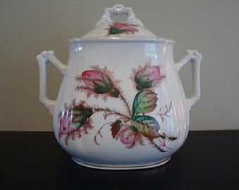 Very nice white Wedgwood china English biscuit jar with lid with floral transferware design