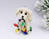 Golden Retriever Christmas Ornament with Lights Porcelain