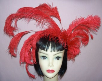 Custom Made Red Ostrich Feather Headband By Taissa lada Designs,Old Hollywood,Bridal,Pin Up,Flapper,Orange Feathers,Boho,Vintage Inspired