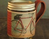 Mason jar leather bike sleeve. 3rd anniversary gift.