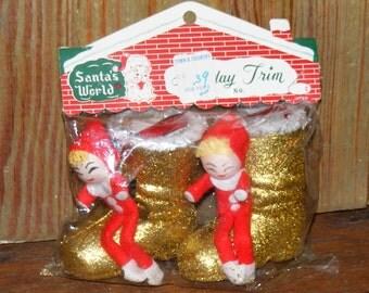 Vintage Spun Cotton Pixie Elf  Elves Sitting on a Glitter Santa Boot Chenille Trim  Japan in original Package NOS