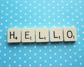 Upcycled Vintage Scrabble Tile Magnets - HELLO