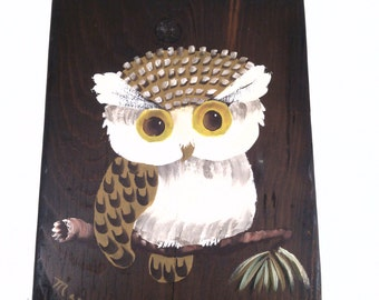 Vintage wall hanging owl art from 1974 wooden art owl hand made owl art