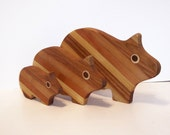 PIG Cutting Board Set of 3 Handcrafted from Mixed Hardwoods