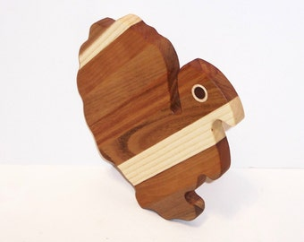 Turkey Cheese Cutting Board Handcrafted from Mixed Hardwoods