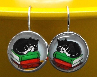 Tuxedo Cat Books Earrings Bookish Literary Kitty