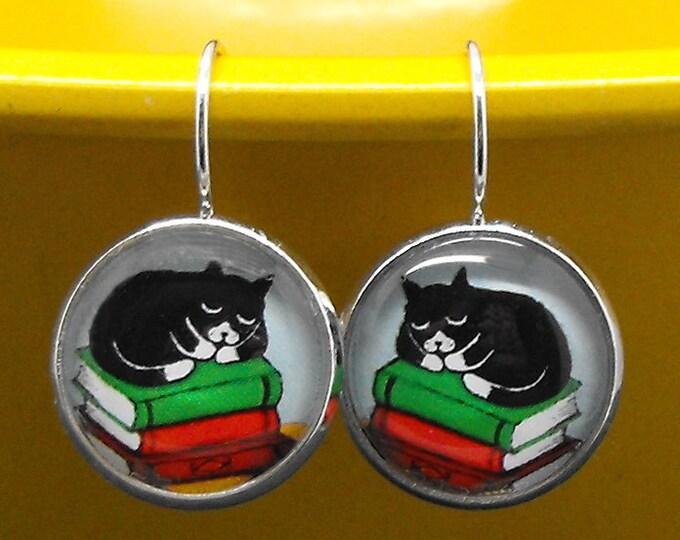 Tuxedo Cat Books Earrings Bookish Literary Kitty