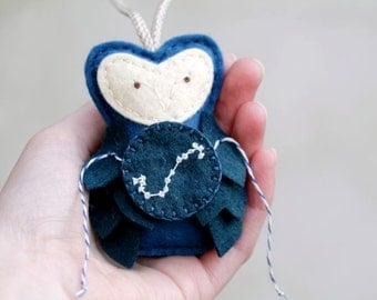Embroidered SCORPIUS Constellation Owl. Felt Owl Ornament. Astronomy Geek Gift. Christmas Ornament by Ordinary Mommy Design on Etsy