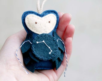 Owl Ornament ARIES Constellation, Gift for the Star Gazer, Astronomer Ornament Made by Ordinary Mommy Design