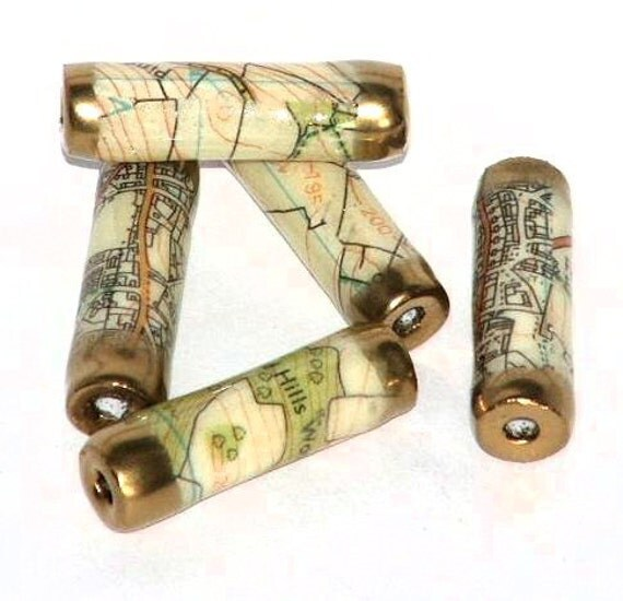Recycled Road Map paper beads