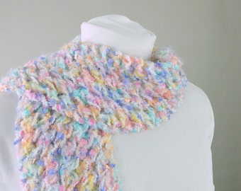 Bright Pastel Fairy Kei Rainbow Fringed Handknit Lace Scarf for Adult Female