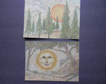 Original Ink and Colored Pencil Drawings of Sun with Trees