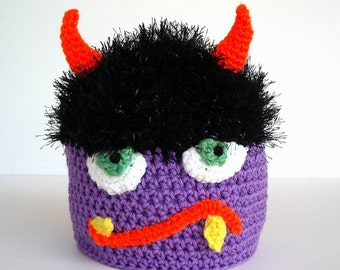 Monster Hat Crochet Black Fuzzy Hair, Lavender Purple Skin Green  Fangs Orange Horns Silly Crazy