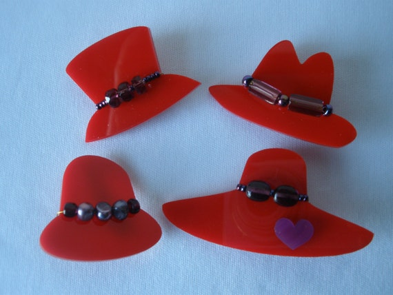 Red hat favors laser cut acrylic with purple
