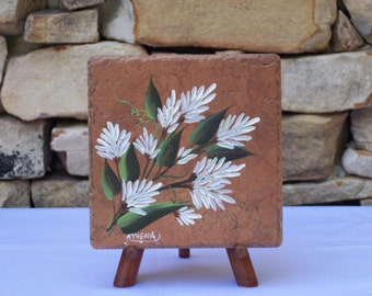 Hand Painted Tile Trivet with White Stock Flowers