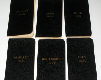 6 Vintage Memorandum Books  - January, April, June, July, August, Sept - 1905 -- for Collage, Scrapbooking, Altered Art, Card Making