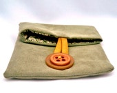 Ultrasuede Card Holder, Button-Down Pouch, Cotton Lined, Recycled Fabric Scraps, Vintage Button