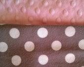 Custom Boutique Grey Polka Dot Flannel & Pink Minky Baby Blanket