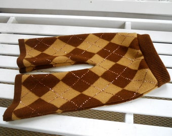 Medium recycled wool longies, cloth diaper cover pants, fancy brown argyle