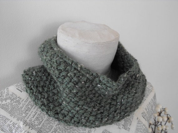 Cowl Neck Warmer Knitted Womens, Soft Wool in Green