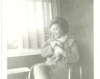 Vintage Photo Woman Holds Puppy Dog By Window Snapshot Photograph