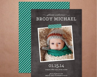 Chalkboard Birth Announcement, Printable Baby Announcement Card, Digital File