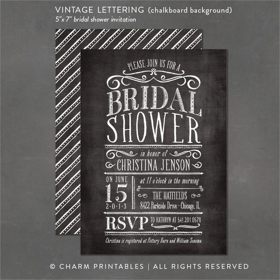 Items Similar To Chalkboard Bridal Shower Invitation  Diy Print
